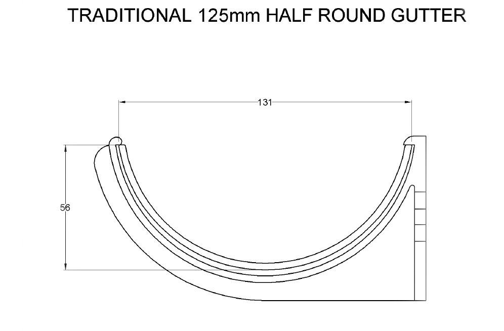 Traditional Half Round aluminium guttering system