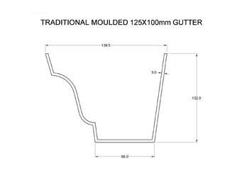 Marley Alutec Traditional Moulded Ogee aluminum guttering cad file