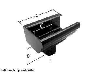 Marley Alutec Aligator Classic aluminium gutter stop end outlet GK428