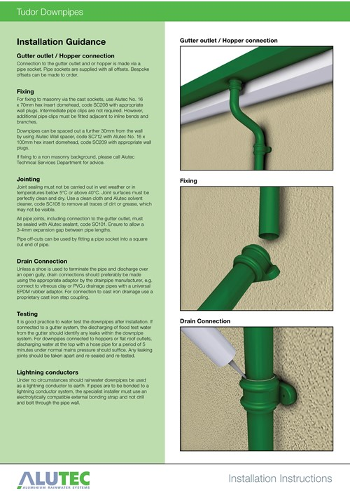 Marley Alutec Tudor downpipe insallation instruction