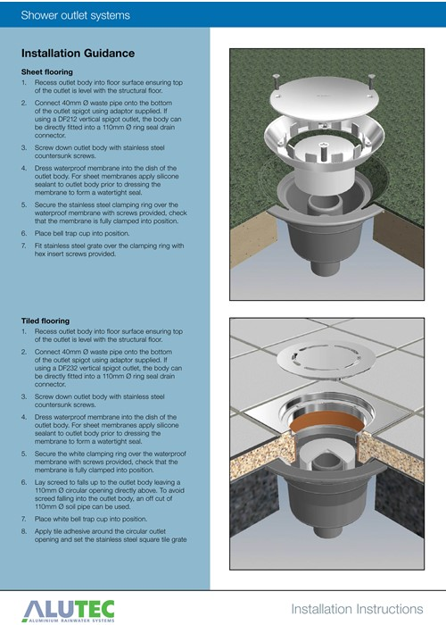 Marley Alutec shower outlets installation instructions