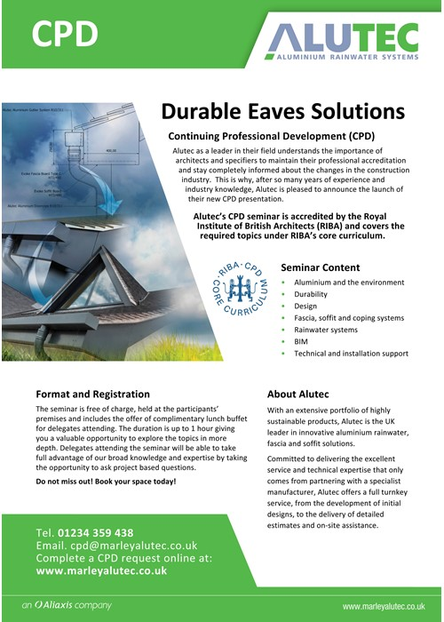 Aluminium guttering by Marley Alutec CPD Invitation Leaflet