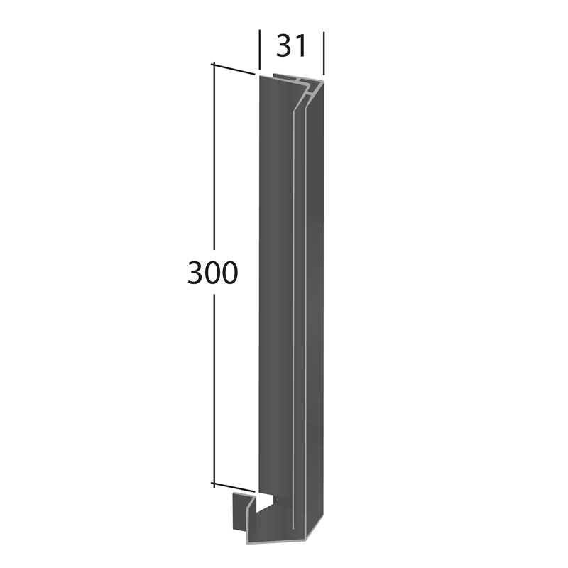 H-Section corner joint trim 90° (External 300x31mm)