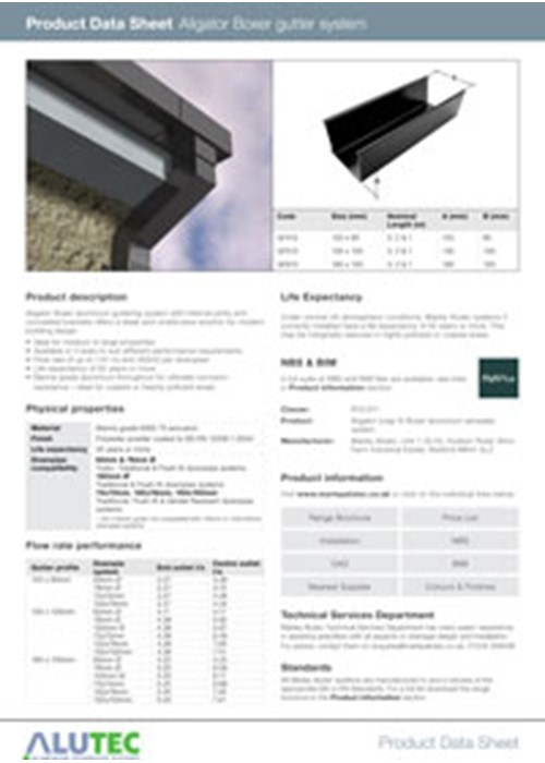 Aluminium guttering Aligator Boxer Product Data Sheet by Marley Alutec