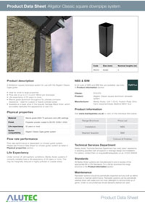 Aluminium Downpipe Aligator Classic 62mm Product Data Sheet by Marley Alutec