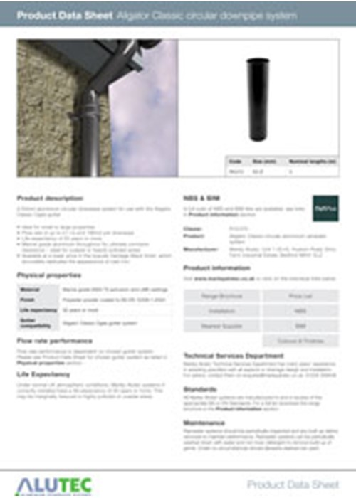 Aluminium Downpipe Aligator Classic 63mm Product Data Sheet by Marley Alutec
