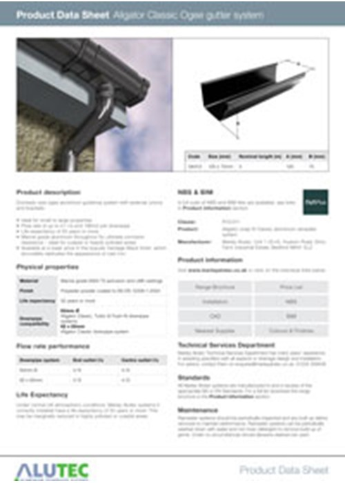 Aluminium guttering Aligator Classic Product Data Sheet by Marley Alutec
