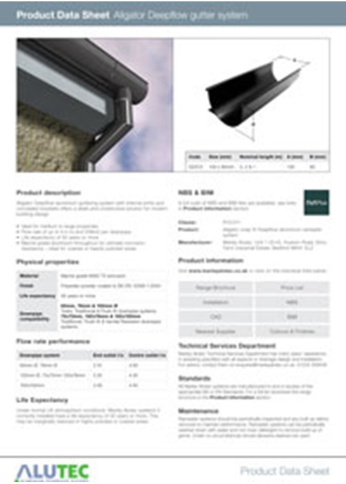 Aluminium guttering Aligator Deepflow Product Data Sheet by Marley Alutec