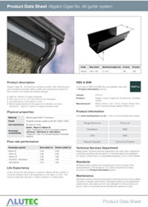 Aluminium guttering Aligator Giant Product Data Sheet by Marley Alutec