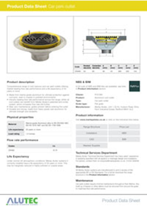 Car Park Rainwater Drainage Outlet Product Data Sheet By Marley Alutec