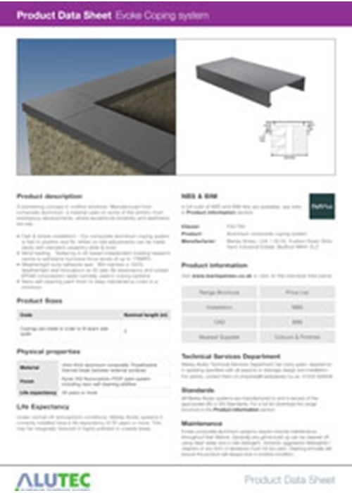 Evoke Aluminium Coping Product Data Sheet by Marley Alutec