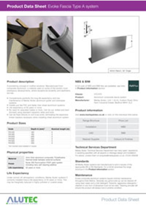 Aluminium Fascia Type A Product Data Sheet by Marley Alutec