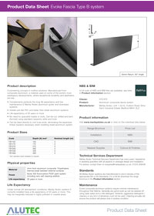 Evoke Aluminum Fascia Type B Product Data Sheet By Marley Alutec