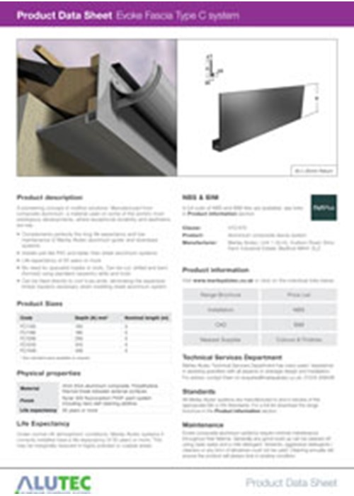 Evoke Aluminum Fascia Type C Product Data Sheet By Marley Alutec