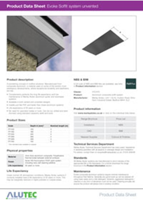 Evoke Aluminum Soffit Unvented Product Data Sheet By Marley Alutec