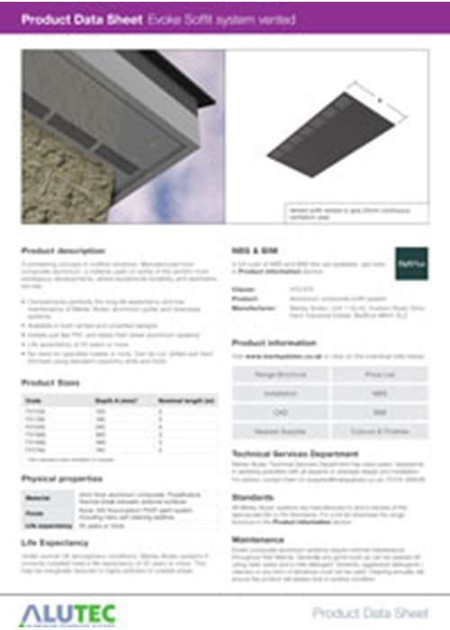 Evoke Aluminum Soffit Vented Product Data Sheet By Marley Alutec