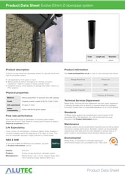 Aluminum Rainwater Evolve 63mm Downpipe Product Data Sheet By Marley Alutec