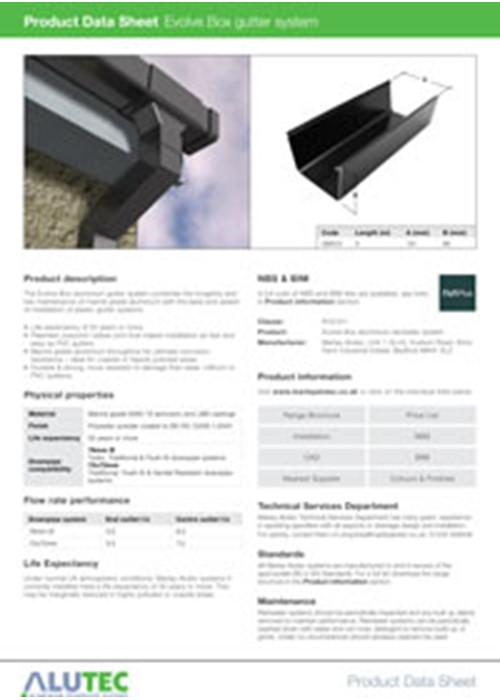 Aluminium guttering Evolve Box Product Data Sheet by Marley Alutec