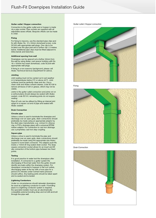 Marley Alutec Flush-fit downpipe installation
