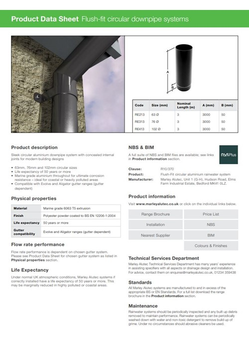 Flush-fit Circular Downpipe