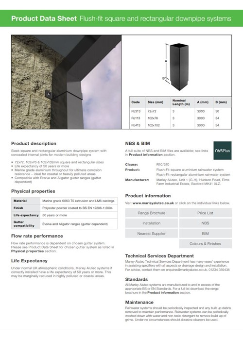 Flush-fit Square & Rectangular Downpipe