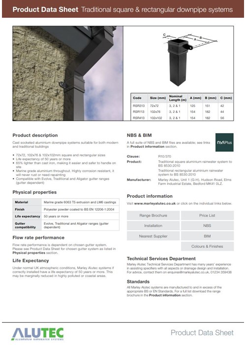 Traditional Square & Rectangular Downpipes