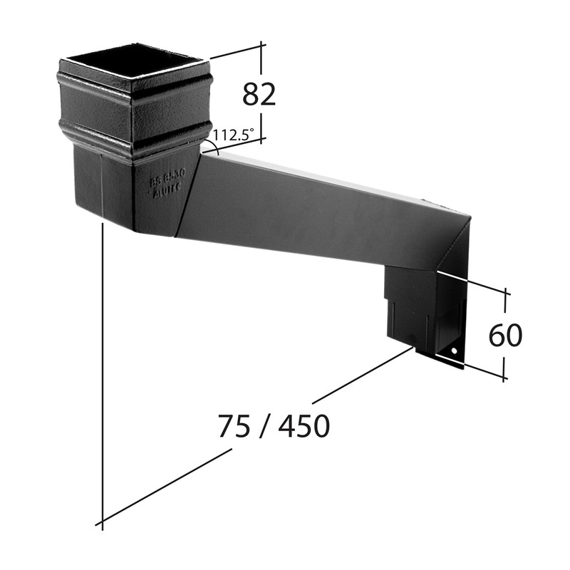 102x76mm Rectangle Adjustable Eaves Offset 75mm to 450mm