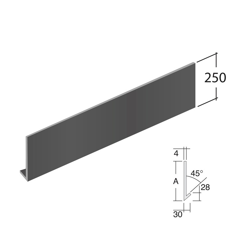 3m (30mm Return, 45° angle) 250mm height