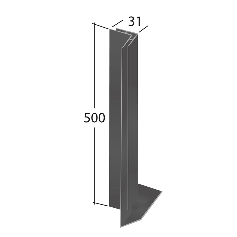 H-Section corner joint trim 90° (Internal 500x31mm)