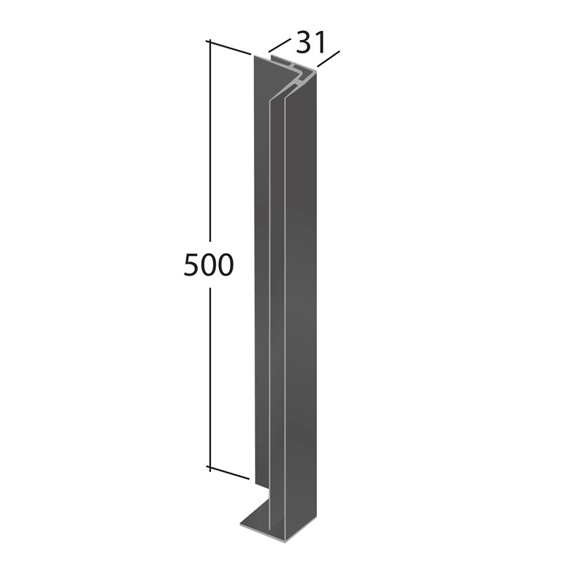 H-Section corner joint trim 90° (External 500x31mm)