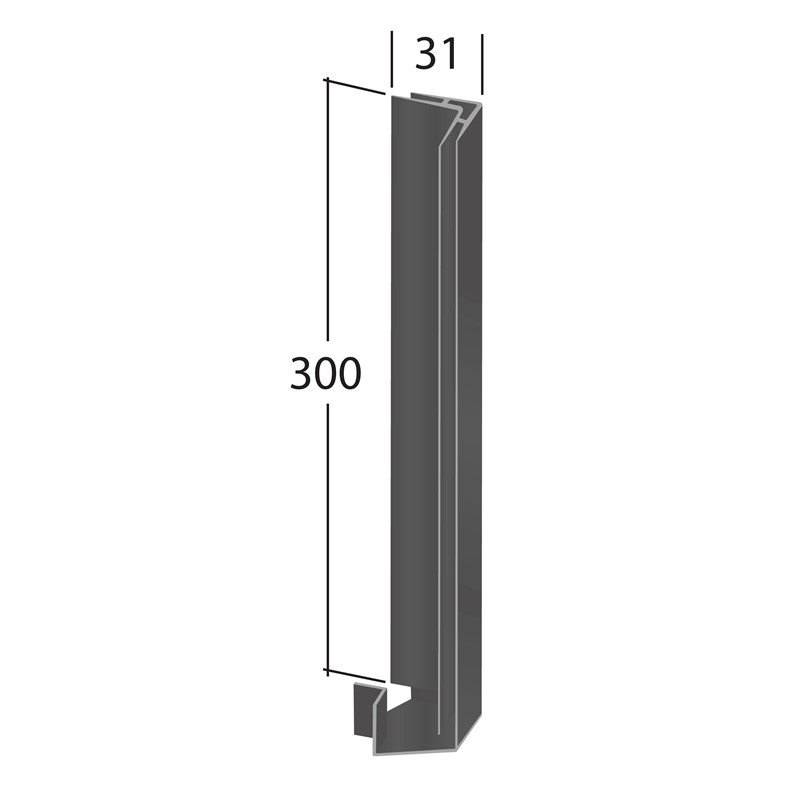 H-Section corner joint trim 90° (Internal 300x31mm)
