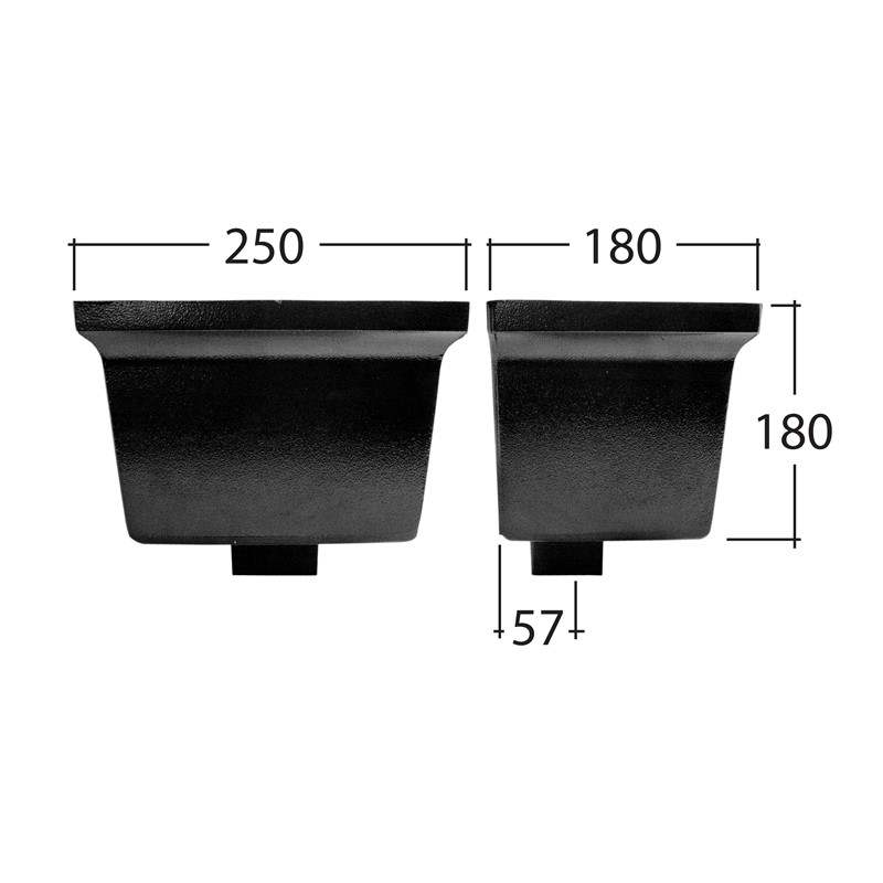 Flush-Fit 102x102mm Square Standard Hopper Head