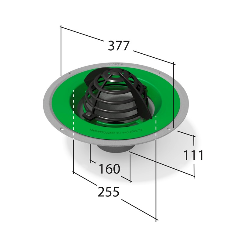 Roof Outlet with Dome Grate 160mm⌀ Pipe Connection